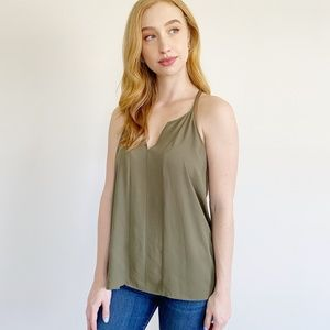 LOFT Silky Army Green Tank Top Large